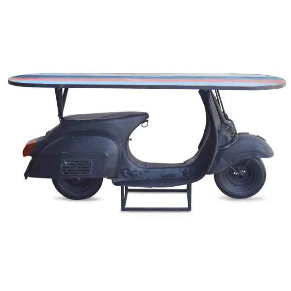 SS1525 Suren Space Black Finish Console Cum Counter Table in Automobile Pattern