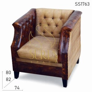 SS1763 Suren Space Leather Canvas Distress Single Seater Sofa
