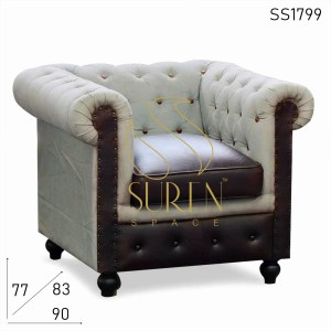 SS1799 Suren Space Tufted Duel Material Canvas Leather Restaurant Chesterfield Sofa Design