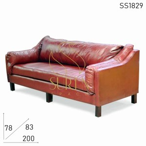 SS1829 Suren Space Premium Leather Indian Style Three Seater Sofa Design