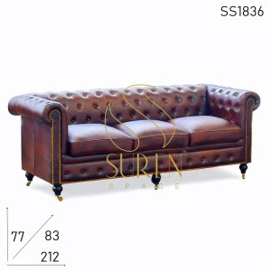 SS1836 Suren Space Wheel Base Chesterfield Leather Three Seater Sofa