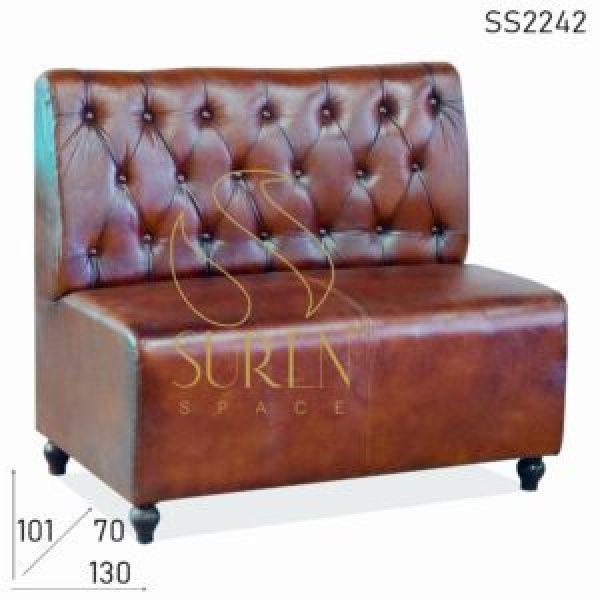 SS2242 Suren пространства Tufted Чистая кожа Назад Отдых Два Seater Ресторан Диван