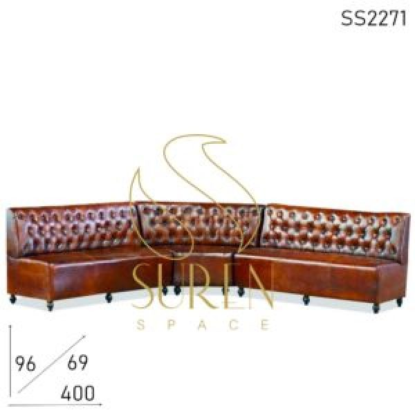 SS2271 Suren пространства три части Tufted длинная форма Чистая кожа Ресторан диван