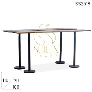 SS2518 Suren Space Metal Foldable Legs with Reclaimed Wood Top Folding Long Bar Table