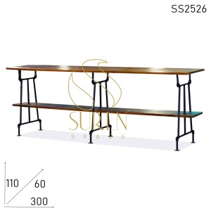SS2526 Suren Space Metal Frame Solid Wood Industrial Style Long Bar Pub Table