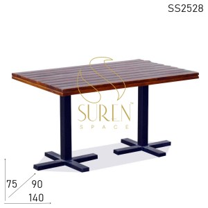 SS2528 Suren Space Simple Yet Stylish Solid Wood Metal Base Folding Restaurant Dining Table