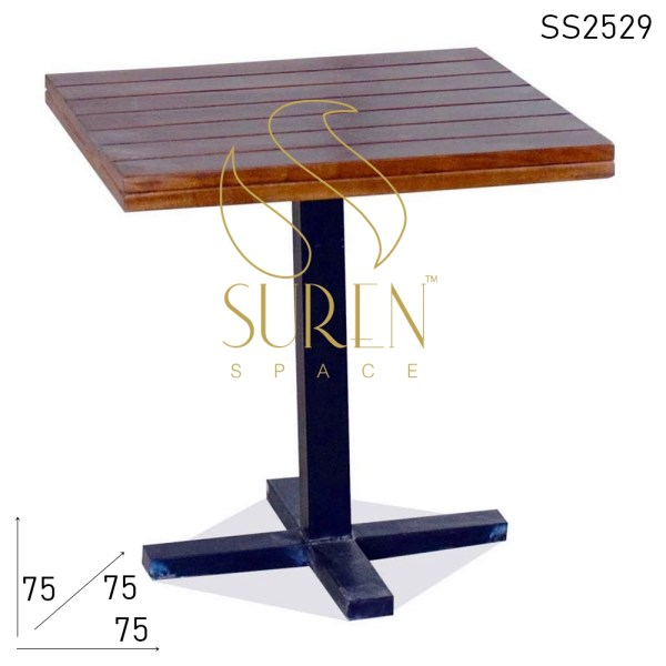 SS2529 Suren Space Solid Wood Metal Base Modern Industrial Café Bistro Table