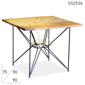 SS2536 Suren Space Minimalist Metal Design Solid Wood Square Dining Table