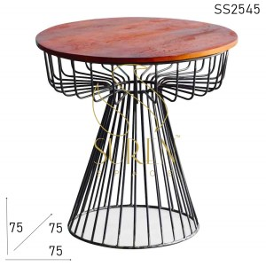 SS2545 Suren Space Metal Finish Solid Wood Round Bent Metal Bistro Cafe Table