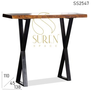SS2547 Suren Space Indian Solid Wood Live Edge Metal Base Bar Table