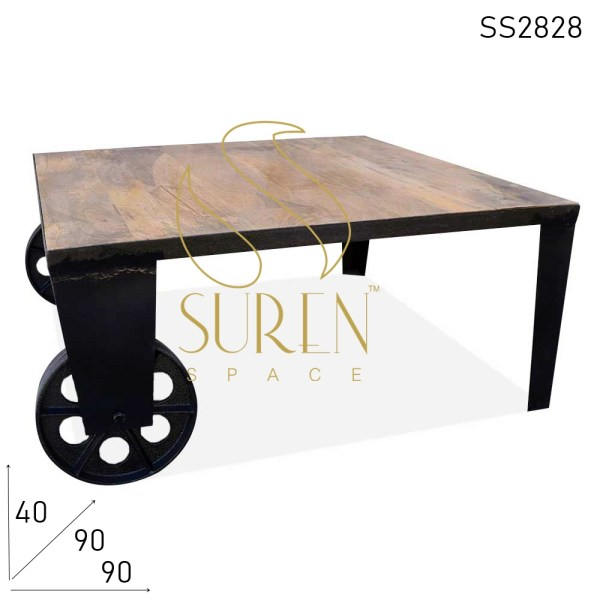 SS2828 Suren Space Cast Iron Wheel Industrial Retro Design Coffee Center Table