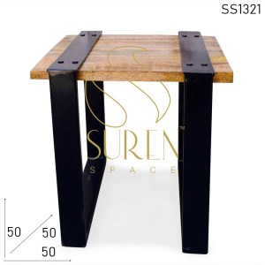 SS1321 Suren Space Metal Base Rough Solid Mango Wood Industrial Bedroom Side Table