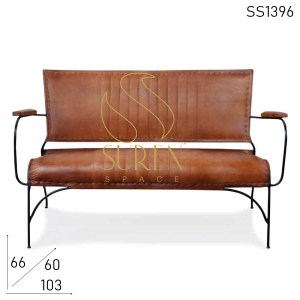 SS1396 SUREN SPACE Leather Two Seater Bent Metal Vintage Style Two Seater