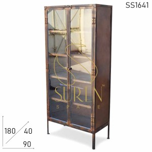 SS1641 Suren Space Rustic Glass Door Industrial Inspire Almirah Cum Display Cabinet