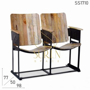SS1710 Vintage Style Indian Wood Metal Cinema Chair Bench
