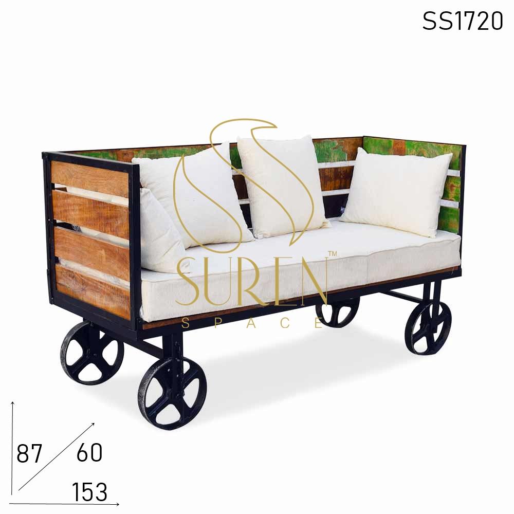 SS1720 SUREN ESPAÇO Indiano Roda de ferro fundido industrial dobrável recuperado design de sofá