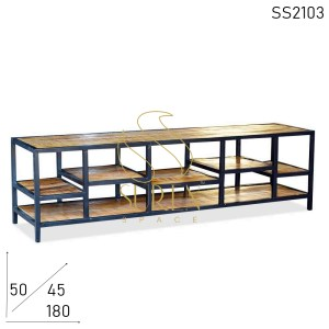 SS2103 Suren Space Mango Rough Metal Frame Multi Shelves Entertainment Unit