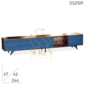 SS2109 Suren Space Grey Walnut Metal Base Solid Wood Modern Entertainment Unit
