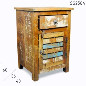 SS2584 Suren Space Unique Colored Window Doors Old Wood Bedside Furniture