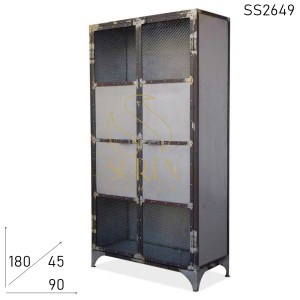 SS2649 Suren Space Industrial Finish Iron Mesh Work Commercial Almirah Cabinet