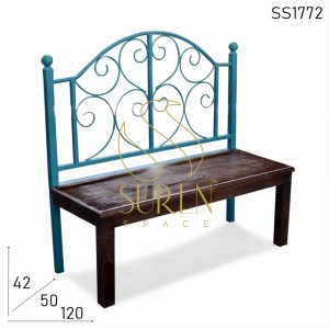 SS1772 Suren Space Bent Metal Solid Wood Indian Bench Design