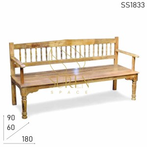 SS1833 SUREN SPACE Hand Crafted Solid Indian Restaurant Wooden Bench Design