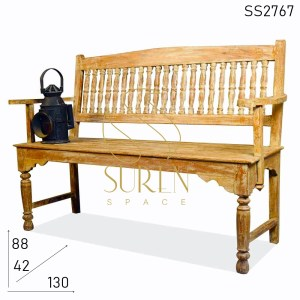 SS2767 SUREN SPACE Carved Design Chic Finish Antique Looking Bench