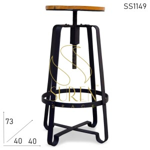 SS1149 Suren Space Black Finish Solid Metal Réglable Wood Bar Tabouret