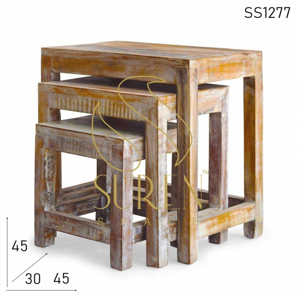 SS1277 SUREN SPACE Distress Solid Wood Set of Three Nest of Table Set