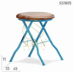 SS1805 SUREN SPACE Blue Distress Folding Stool With Leather Seat