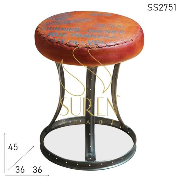 SS2751 Suren Espaço Upcycled Old Metal Leather Seat Stool
