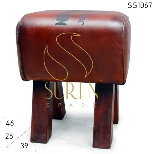 SS1067 SUREN SPACE Indian Handcrafted Pure Leather Stool