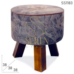 SS1183 SUREN SPACE Upcycled Fabric Round Shape Pouf Stool