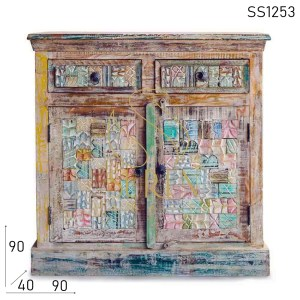 SS1253 SUREN SPACE Carved Pattern Distress Finish Recycled Design Cabinet