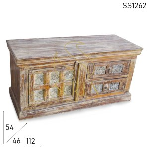 SS1262 Suren Space Two Drawer One Door Distress Finish Trunk Design