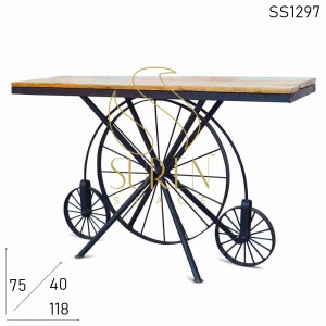 SS1297 Suren Space Wheel Base Industrial Console Table Design