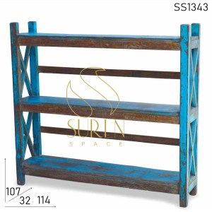SS1343 Suren Space Blue Distress Old Wood Book Shelf Design