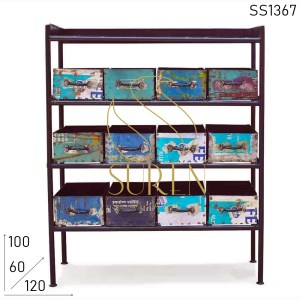 SS1367 Suren Space Industrial Recycled Old Metal Drawer Chest