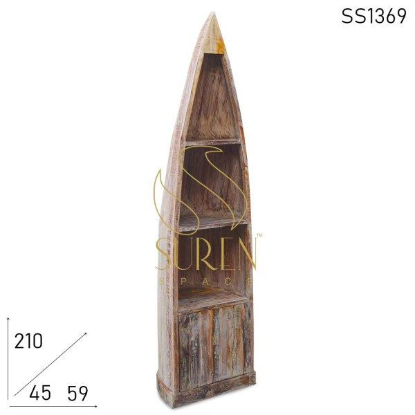 SS1369 Suren Space Distress Finish Recycled Wood Indian Bookcase