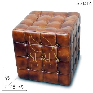 SS1412 SUREN SPACE Tufted Pure Leather Upholstered Stool