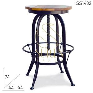 SS1432 SUREN SPACE Bent Metal Finitura Nera Recuperato Wood Bar Sgabello