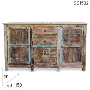 SS1502 Suren Space Hand Carved Reclaimed Wood Four Drawer Sideboard