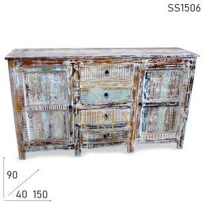 SS1506 Suren Space Distress Finish Carved Design Handmade Sideboard Design