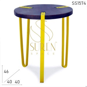 SS1574 Suren Space Industrial Wooden Dark Walnut Finish Stool Cum End Table