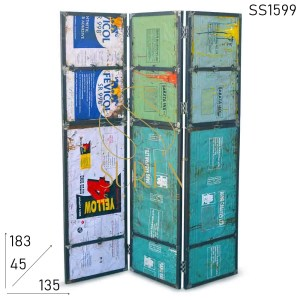 SS1599 Suren Space Upcycled Design Old Metal Folding Room Divider