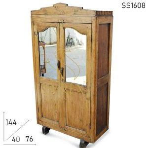 SS1608 Suren Space Old Teak Wood Mirror Fitted Antique Look Wardrobe