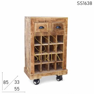 SS1638 Suren Space Solid Mango Wood Small Corner Bar Unit