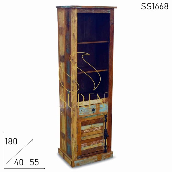 SS1668 Suren Space Reclaimed Industrial Touch Open Close Bookcase
