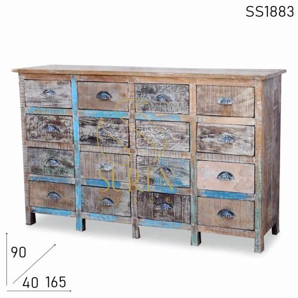 SS1883 Suren Space White Distress Cassettiera in legno recuperato indiano