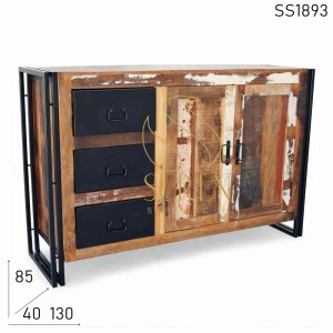 SS1893 Suren Space Black Finish Reclaimed Wood Indian Style Sideboard